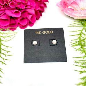 NEW⚜️14K GOLD Genuine Cultured Pearl Stud Earrings